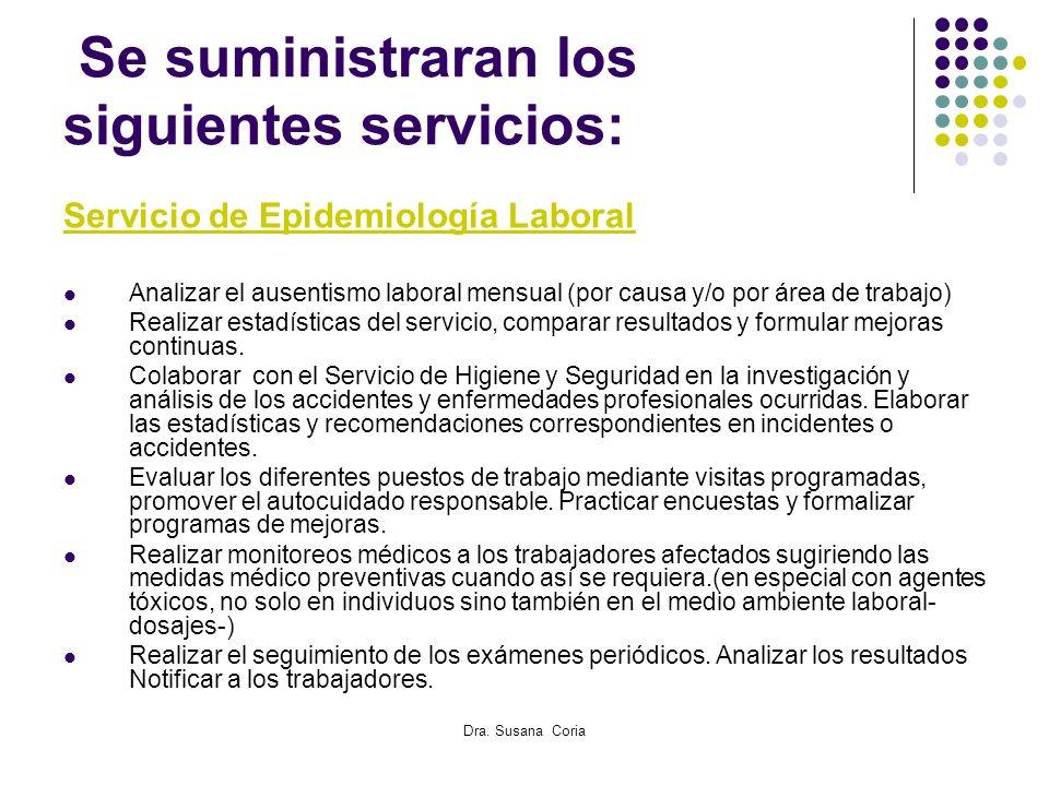 Dra. Susana Coria Se suministraran los siguientes servicios: Servicio de Epidemiología Laboral Analizar el ausentismo laboral mensual (por causa y/o p