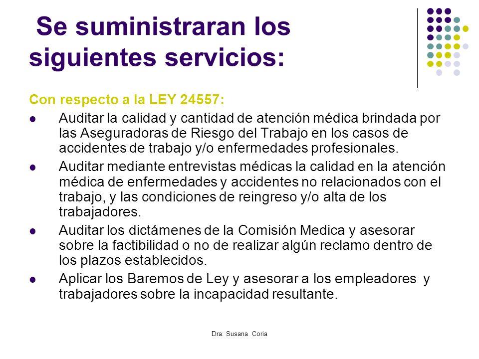 Dra. Susana Coria Se suministraran los siguientes servicios: Con respecto a la LEY 24557: Auditar la calidad y cantidad de atención médica brindada po