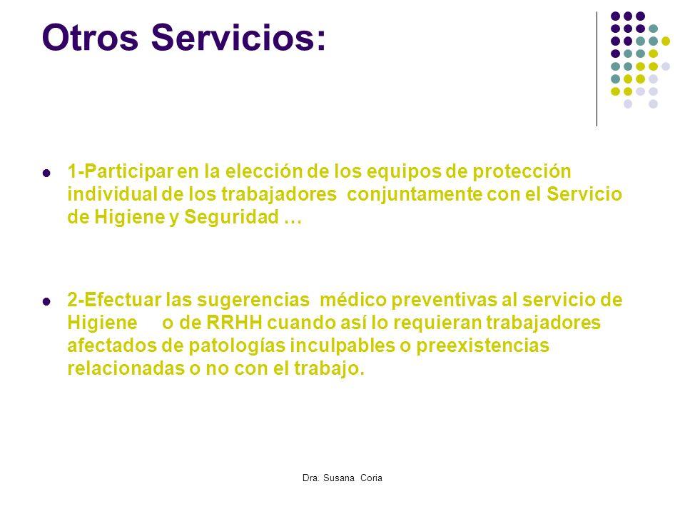 Dra. Susana Coria Otros Servicios: 1-Participar en la elección de los equipos de protección individual de los trabajadores conjuntamente con el Servic