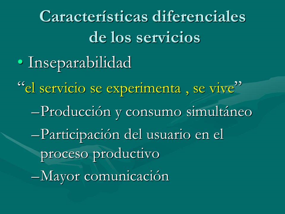 Características diferenciales de los servicios InseparabilidadInseparabilidad el servicio se experimenta, se vive el servicio se experimenta, se vive