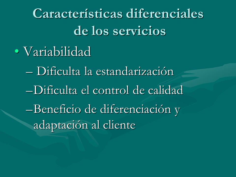 Características diferenciales de los servicios VariabilidadVariabilidad – Dificulta la estandarización –Dificulta el control de calidad –Beneficio de