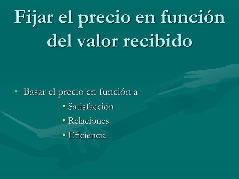 Fijar el precio en función del valor recibido Basar el precio en función aBasar el precio en función a SatisfacciónSatisfacción RelacionesRelaciones E