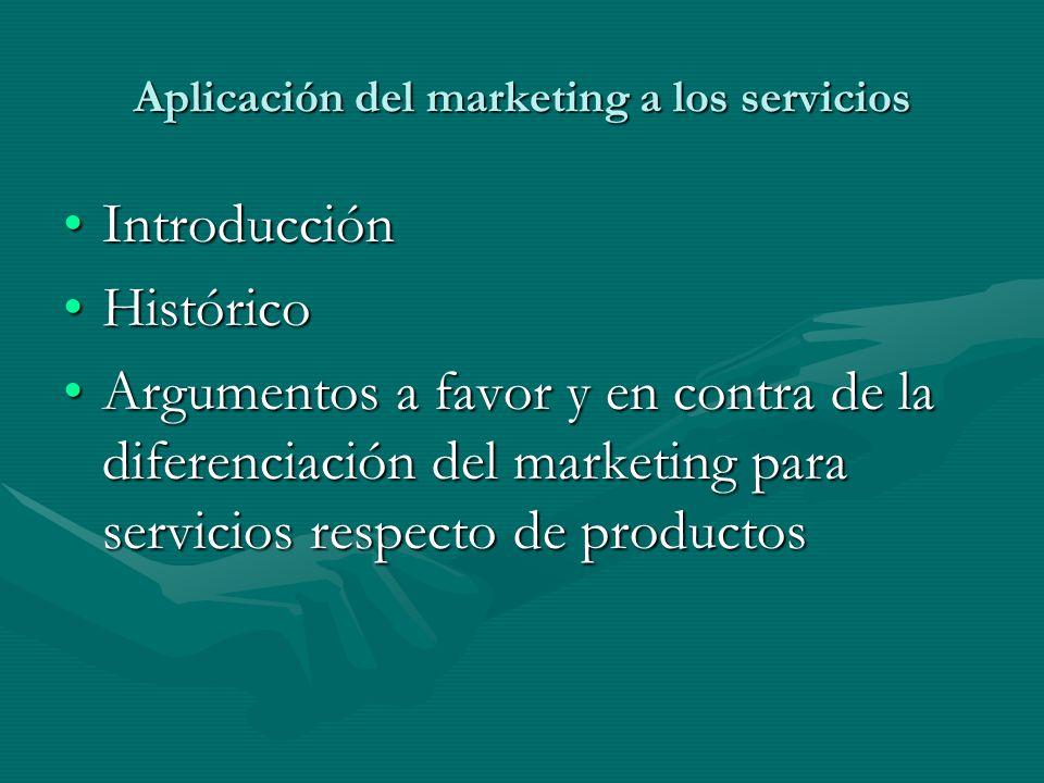 Aplicación del marketing a los servicios IntroducciónIntroducción HistóricoHistórico Argumentos a favor y en contra de la diferenciación del marketing