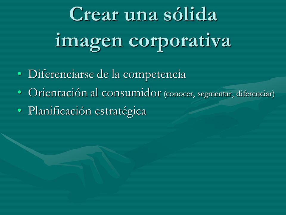 Crear una sólida imagen corporativa Diferenciarse de la competenciaDiferenciarse de la competencia Orientación al consumidor (conocer, segmentar, dife