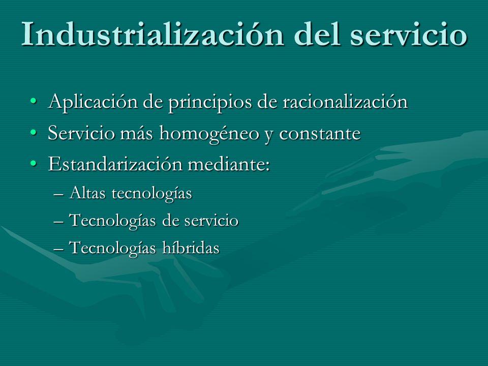 Industrialización del servicio Aplicación de principios de racionalizaciónAplicación de principios de racionalización Servicio más homogéneo y constan