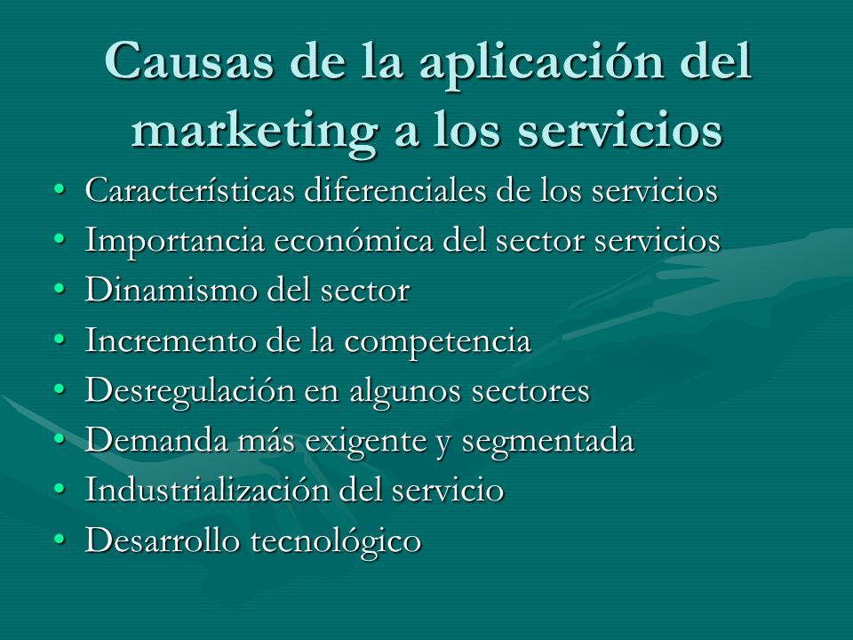 Causas de la aplicación del marketing a los servicios Características diferenciales de los serviciosCaracterísticas diferenciales de los servicios Imp