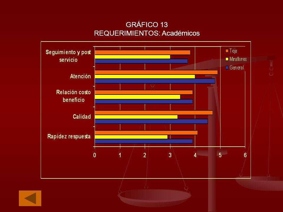 GRÁFICO 13 REQUERIMIENTOS: Académicos