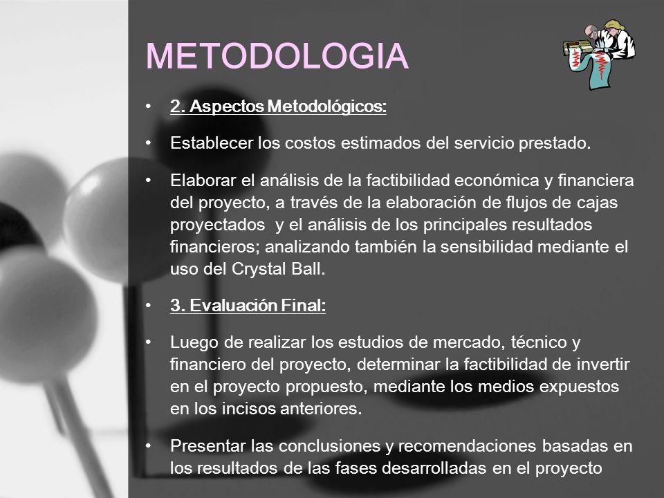 METODOLOGIA 2. Aspectos Metodológicos: Establecer los costos estimados del servicio prestado. Elaborar el análisis de la factibilidad económica y fina