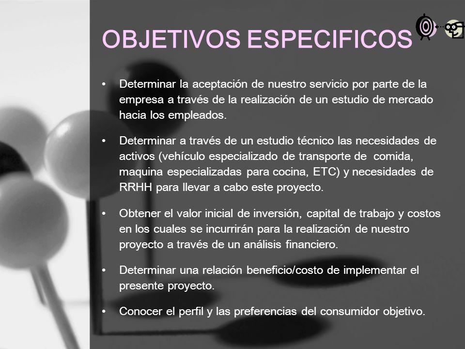 OBJETIVOS ESPECIFICOS Determinar la aceptación de nuestro servicio por parte de la empresa a través de la realización de un estudio de mercado hacia l
