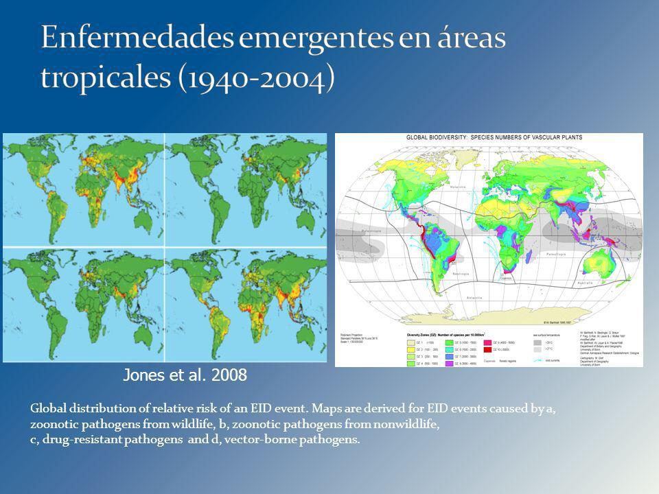 Jones et al. 2008 Global distribution of relative risk of an EID event. Maps are derived for EID events caused by a, zoonotic pathogens from wildlife,