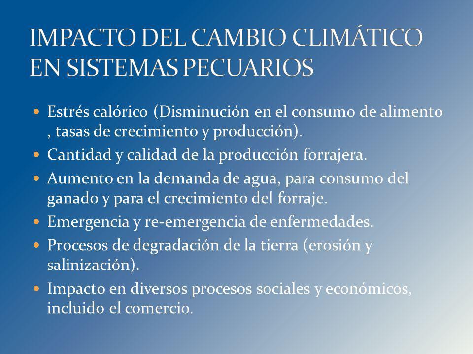Estrés calórico (Disminución en el consumo de alimento, tasas de crecimiento y producción). Cantidad y calidad de la producción forrajera. Aumento en