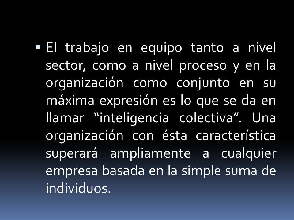 El trabajo en equipo tanto a nivel sector, como a nivel proceso y en la organización como conjunto en su máxima expresión es lo que se da en llamar in