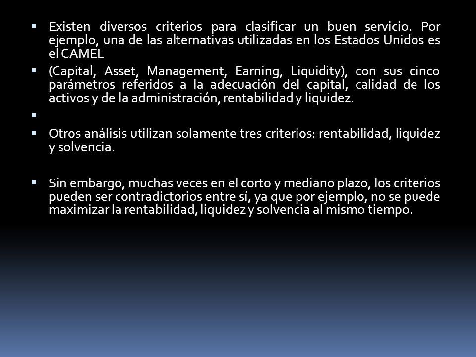 Existen diversos criterios para clasificar un buen servicio. Por ejemplo, una de las alternativas utilizadas en los Estados Unidos es el CAMEL (Capita