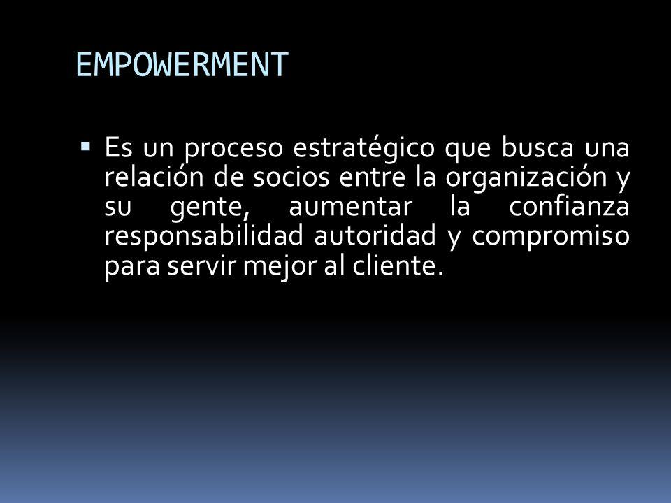EMPOWERMENT Es un proceso estratégico que busca una relación de socios entre la organización y su gente, aumentar la confianza responsabilidad autorid