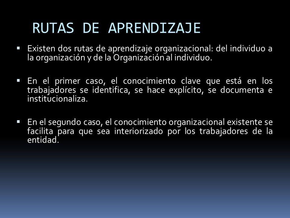 RUTAS DE APRENDIZAJE Existen dos rutas de aprendizaje organizacional: del individuo a la organización y de la Organización al individuo. En el primer