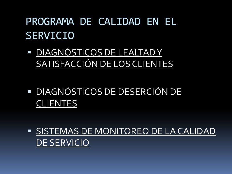 PROGRAMA DE CALIDAD EN EL SERVICIO DIAGNÓSTICOS DE LEALTAD Y SATISFACCIÓN DE LOS CLIENTES DIAGNÓSTICOS DE DESERCIÓN DE CLIENTES SISTEMAS DE MONITOREO