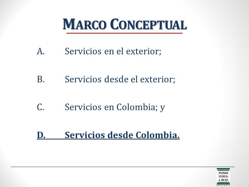 A.Servicios en el exterior; B.Servicios desde el exterior; C.Servicios en Colombia; y D.Servicios desde Colombia. M ARCO C ONCEPTUAL
