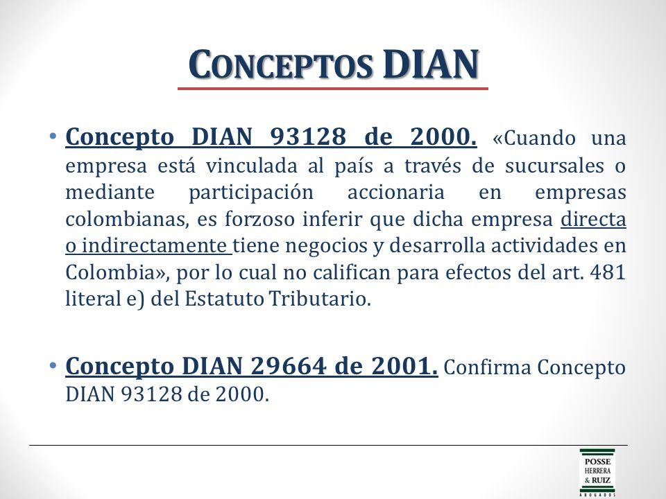 C ONCEPTOS DIAN Concepto DIAN 93128 de 2000. «Cuando una empresa está vinculada al país a través de sucursales o mediante participación accionaria en