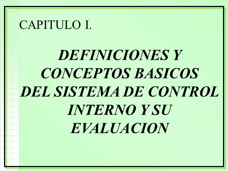 CAPITULO I. DEFINICIONES Y CONCEPTOS BASICOS DEL SISTEMA DE CONTROL INTERNO Y SU EVALUACION