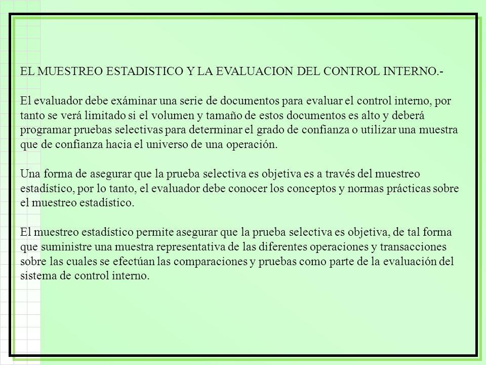 EL MUESTREO ESTADISTICO Y LA EVALUACION DEL CONTROL INTERNO.- El evaluador debe exáminar una serie de documentos para evaluar el control interno, por