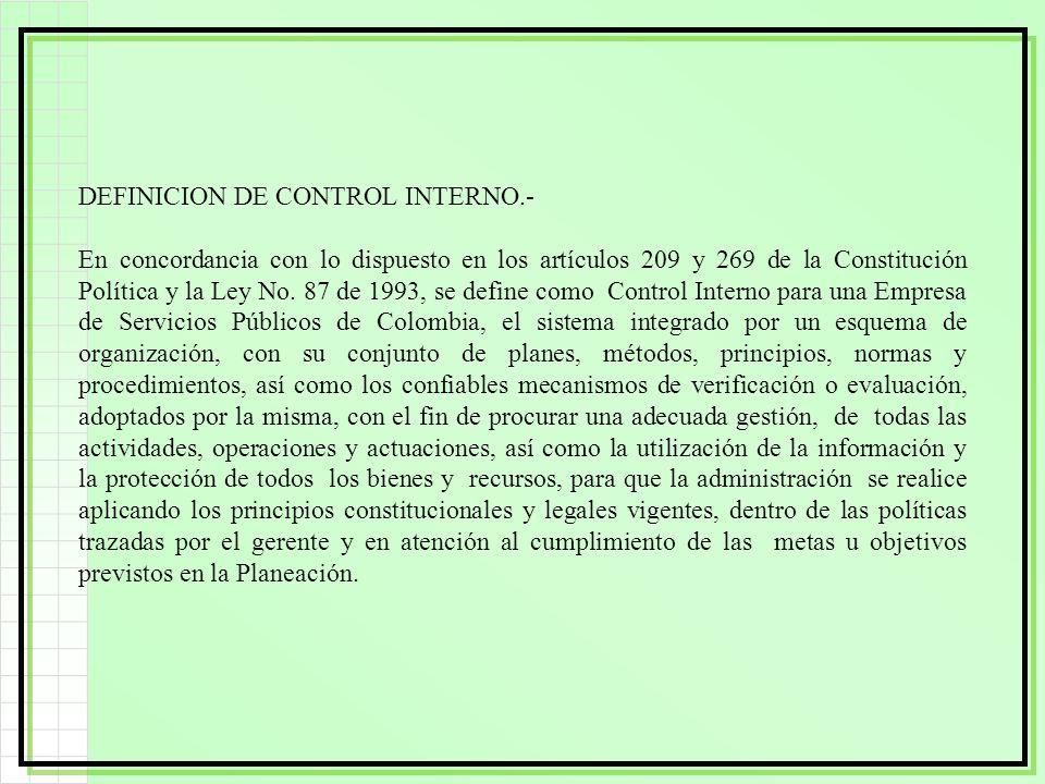 DEFINICION DE CONTROL INTERNO.- En concordancia con lo dispuesto en los artículos 209 y 269 de la Constitución Política y la Ley No. 87 de 1993, se de