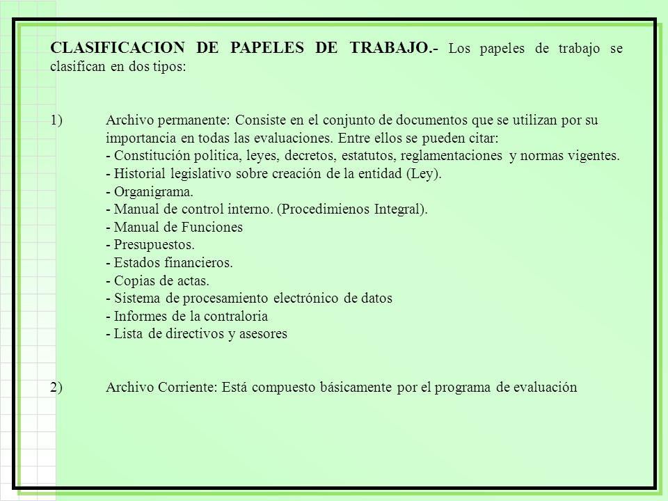 CLASIFICACION DE PAPELES DE TRABAJO.- Los papeles de trabajo se clasifican en dos tipos: 1)Archivo permanente: Consiste en el conjunto de documentos q