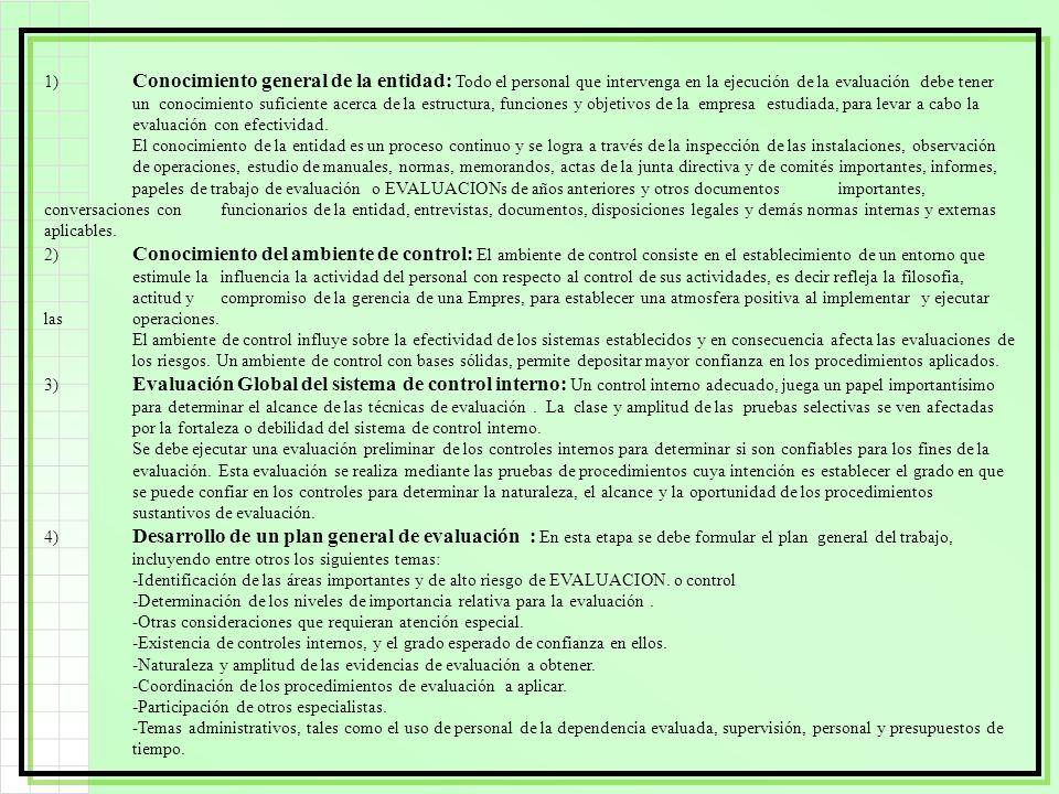 1) Conocimiento general de la entidad: Todo el personal que intervenga en la ejecución de la evaluación debe tener un conocimiento suficiente acerca d