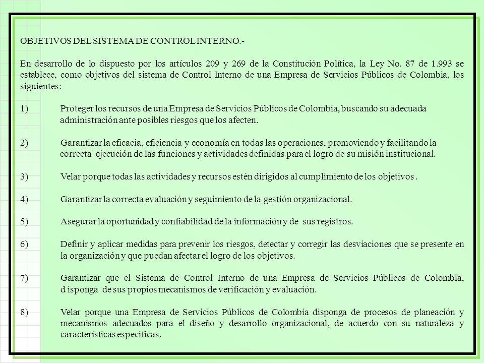 OBJETIVOS DEL SISTEMA DE CONTROL INTERNO.- En desarrollo de lo dispuesto por los artículos 209 y 269 de la Constitución Política, la Ley No. 87 de 1.9
