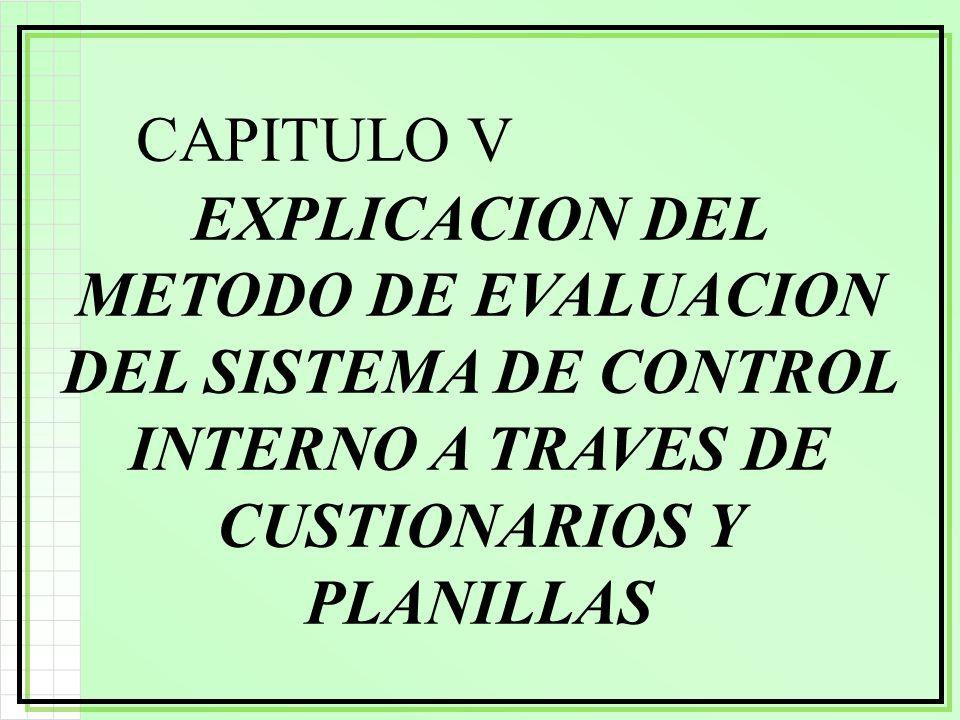 CAPITULO V EXPLICACION DEL METODO DE EVALUACION DEL SISTEMA DE CONTROL INTERNO A TRAVES DE CUSTIONARIOS Y PLANILLAS