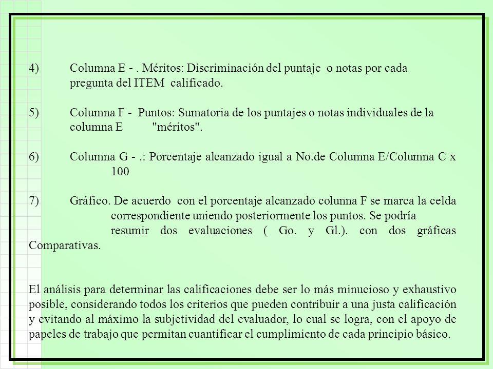 4)Columna E -. Méritos: Discriminación del puntaje o notas por cada pregunta del ITEM calificado. 5)Columna F - Puntos: Sumatoria de los puntajes o no