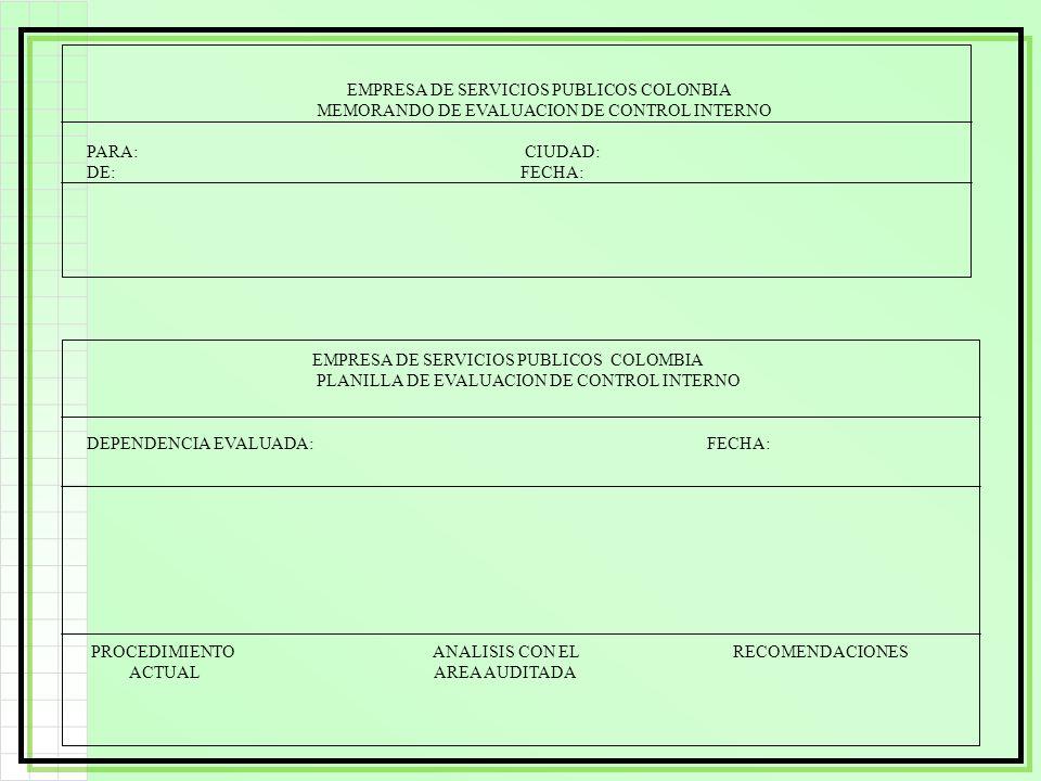 EMPRESA DE SERVICIOS PUBLICOS COLONBIA MEMORANDO DE EVALUACION DE CONTROL INTERNO PARA: CIUDAD: DE: FECHA: EMPRESA DE SERVICIOS PUBLICOS COLOMBIA PLAN