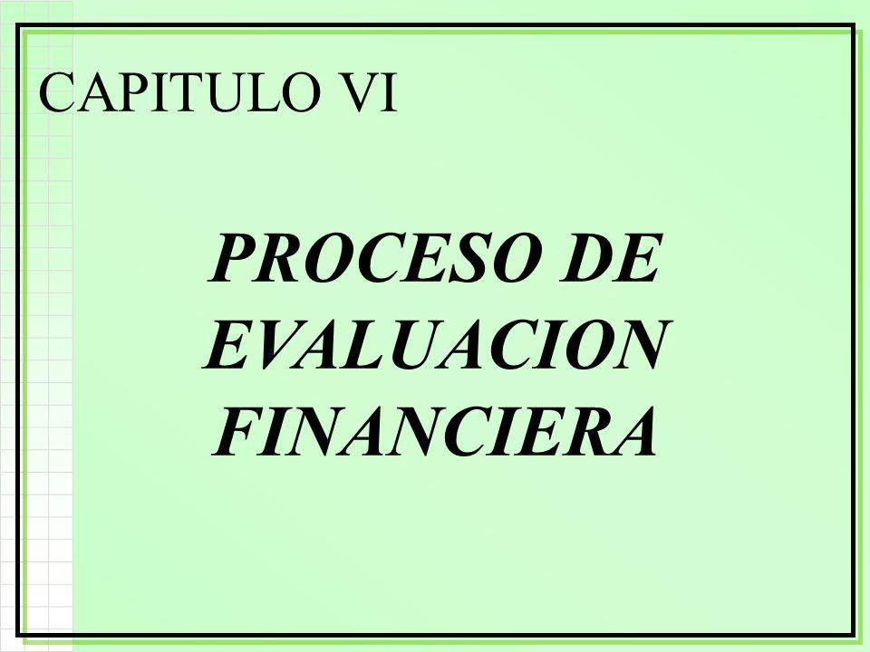 CAPITULO VI PROCESO DE EVALUACION FINANCIERA