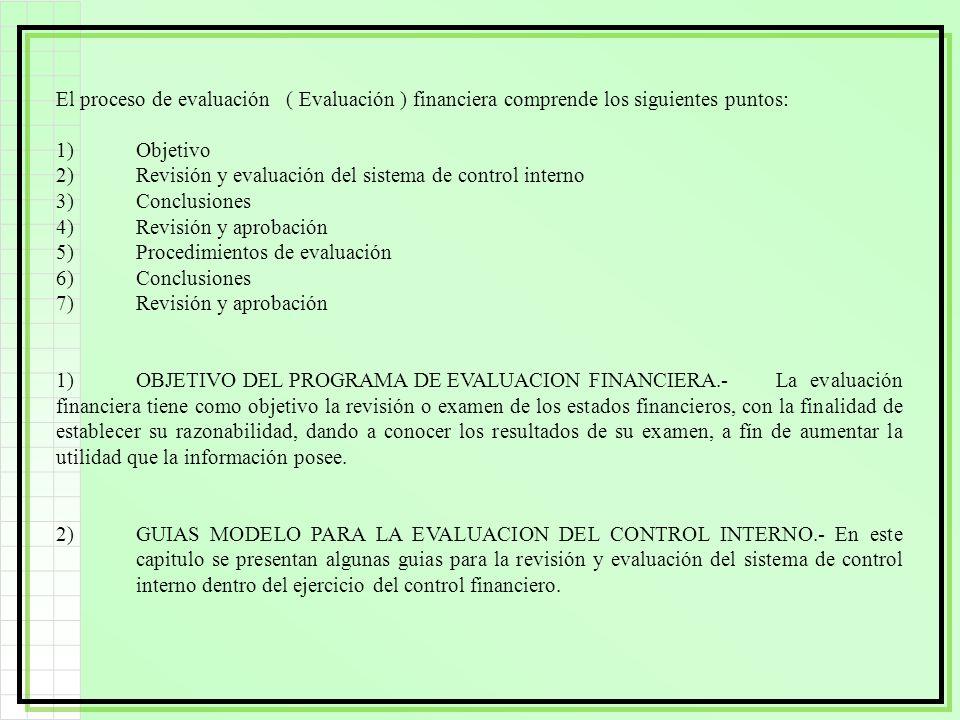 El proceso de evaluación ( Evaluación ) financiera comprende los siguientes puntos: 1)Objetivo 2)Revisión y evaluación del sistema de control interno