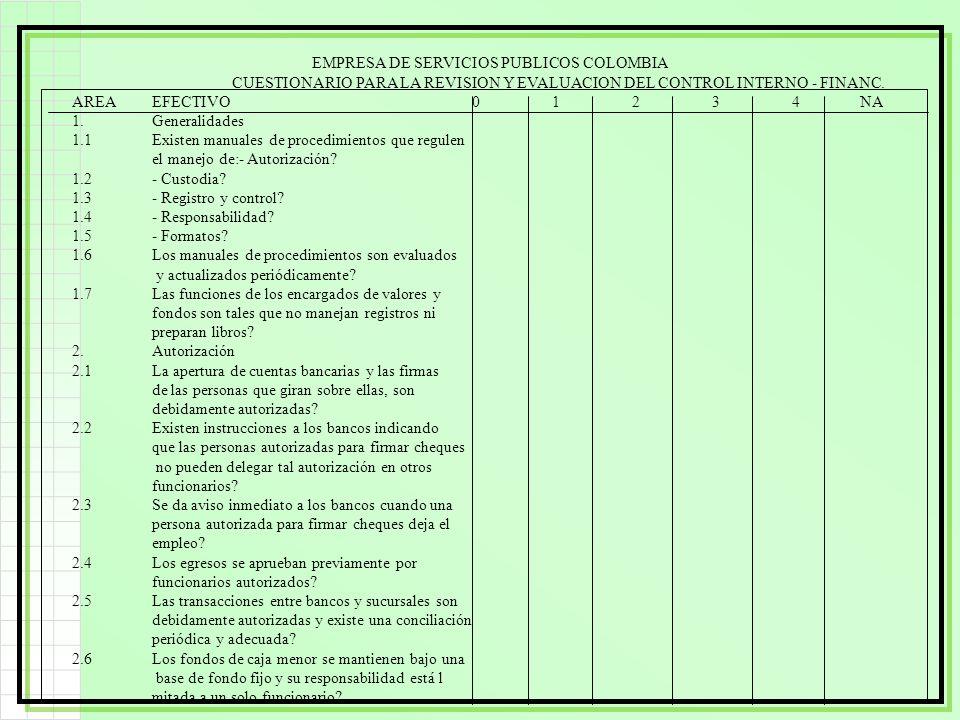 EMPRESA DE SERVICIOS PUBLICOS COLOMBIA CUESTIONARIO PARA LA REVISION Y EVALUACION DEL CONTROL INTERNO - FINANC. AREAEFECTIVO01234 NA 1.Generalidades 1