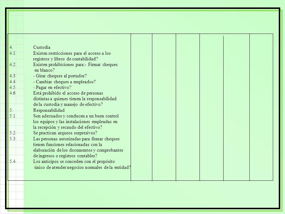 4.Custodia 4.1Existen restricciones para el acceso a los registros y libros de contabilidad? 4.2Existen prohibiciones para:- Firmar cheques en blanco?