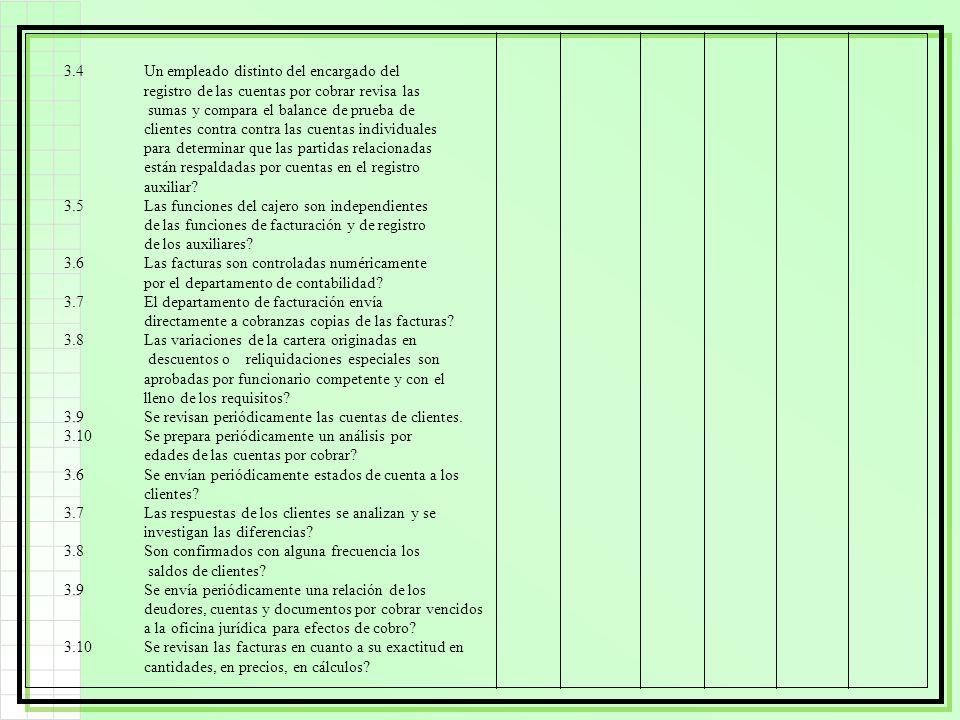 3.4Un empleado distinto del encargado del registro de las cuentas por cobrar revisa las sumas y compara el balance de prueba de clientes contra contra