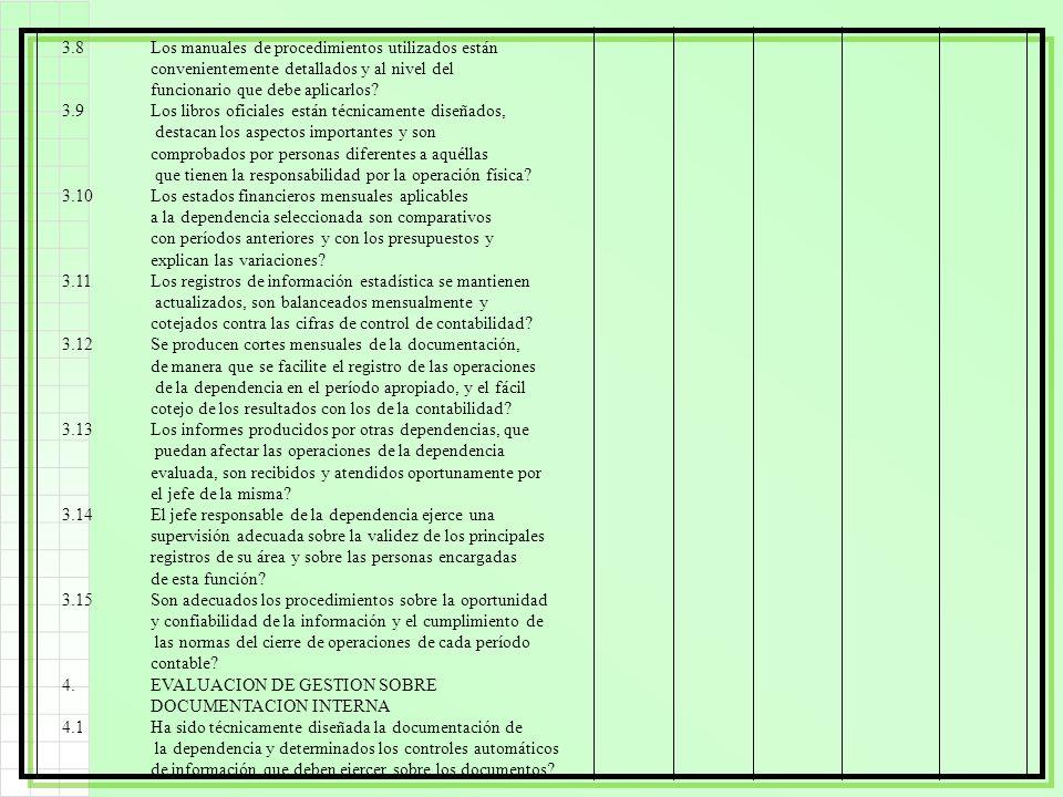 3.8Los manuales de procedimientos utilizados están convenientemente detallados y al nivel del funcionario que debe aplicarlos? 3.9Los libros oficiales