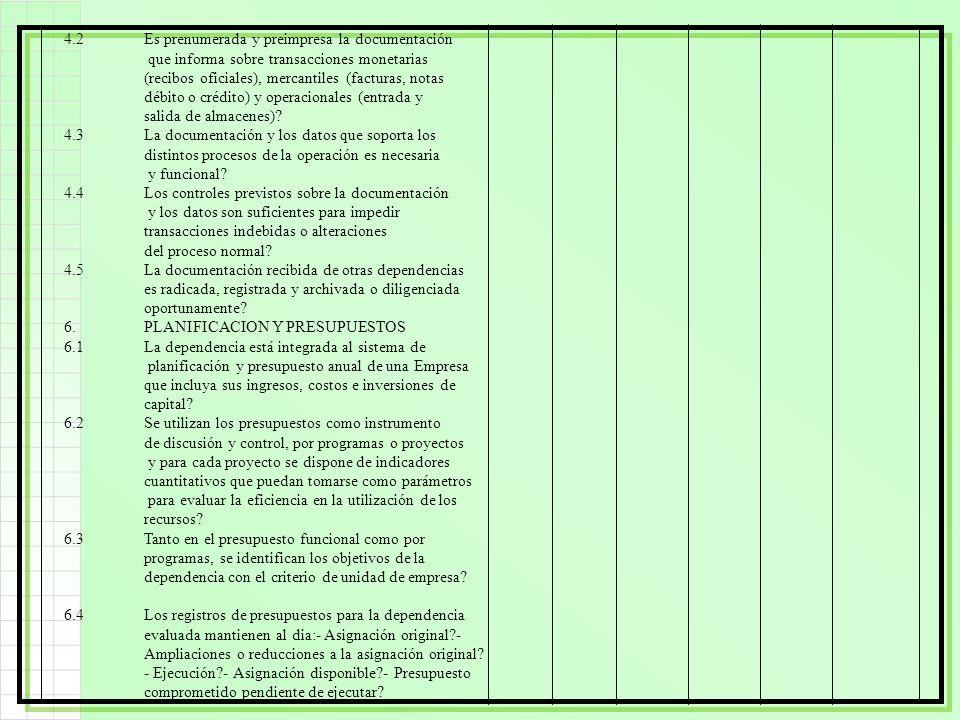 4.2Es prenumerada y preimpresa la documentación que informa sobre transacciones monetarias (recibos oficiales), mercantiles (facturas, notas débito o