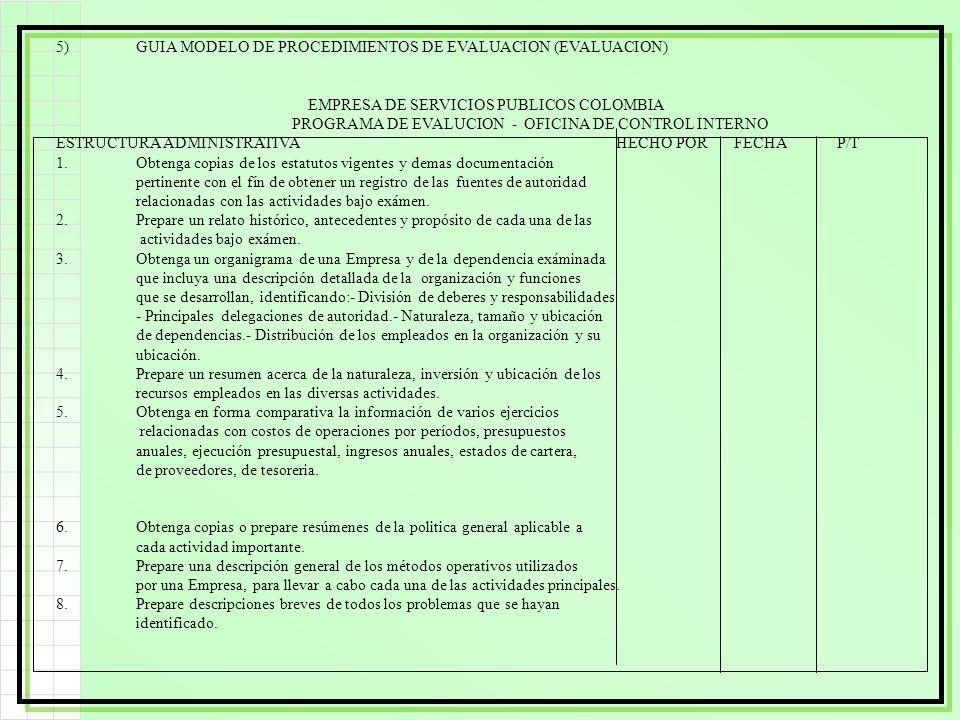5)GUIA MODELO DE PROCEDIMIENTOS DE EVALUACION (EVALUACION) EMPRESA DE SERVICIOS PUBLICOS COLOMBIA PROGRAMA DE EVALUCION - OFICINA DE CONTROL INTERNO E