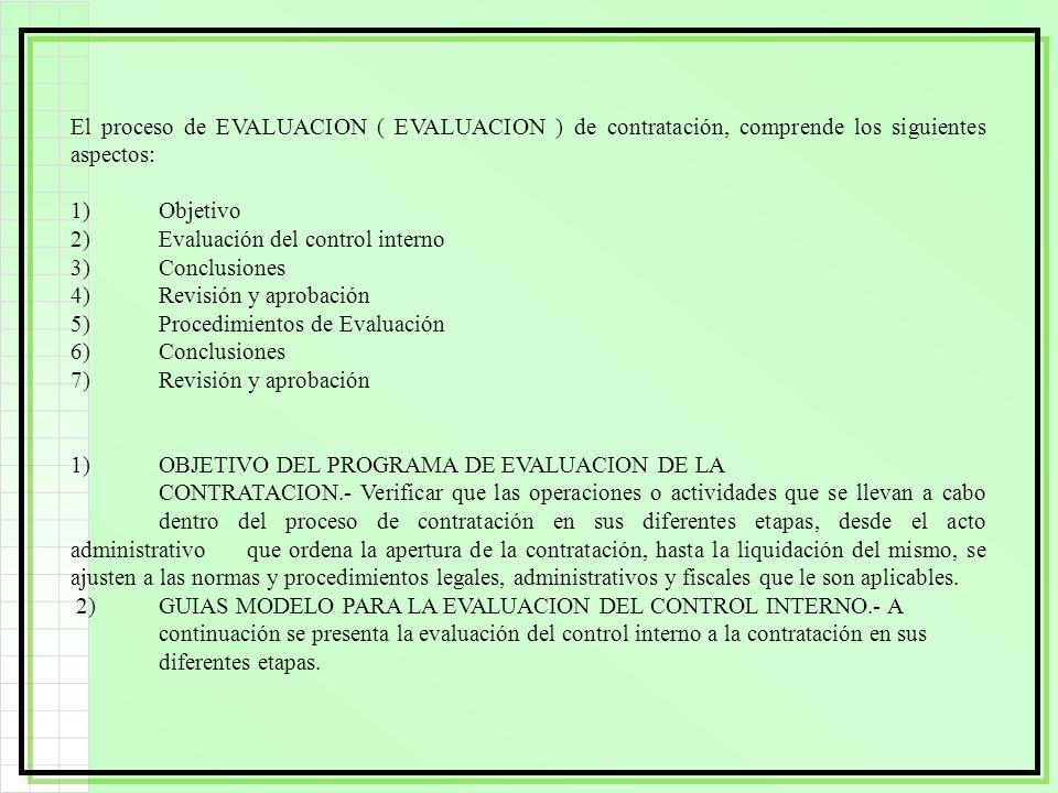 El proceso de EVALUACION ( EVALUACION ) de contratación, comprende los siguientes aspectos: 1)Objetivo 2)Evaluación del control interno 3)Conclusiones