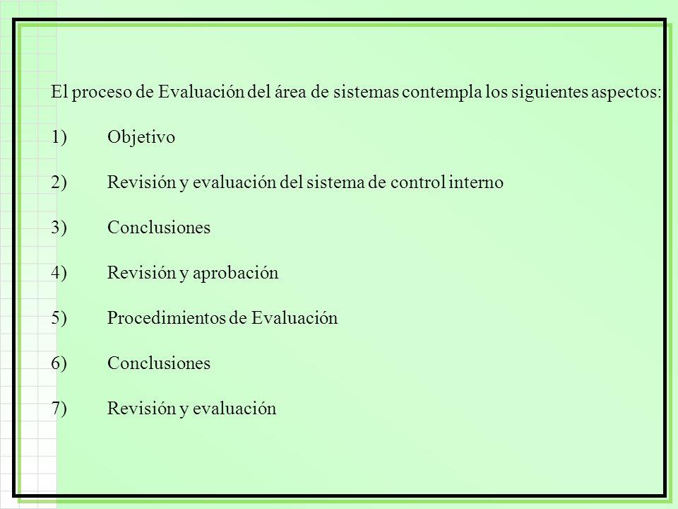 El proceso de Evaluación del área de sistemas contempla los siguientes aspectos: 1)Objetivo 2)Revisión y evaluación del sistema de control interno 3)C