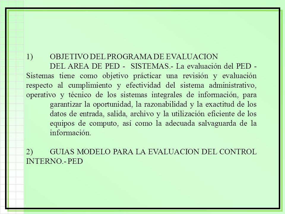 1)OBJETIVO DEL PROGRAMA DE EVALUACION DEL AREA DE PED - SISTEMAS.- La evaluación del PED - Sistemas tiene como objetivo prácticar una revisión y evalu