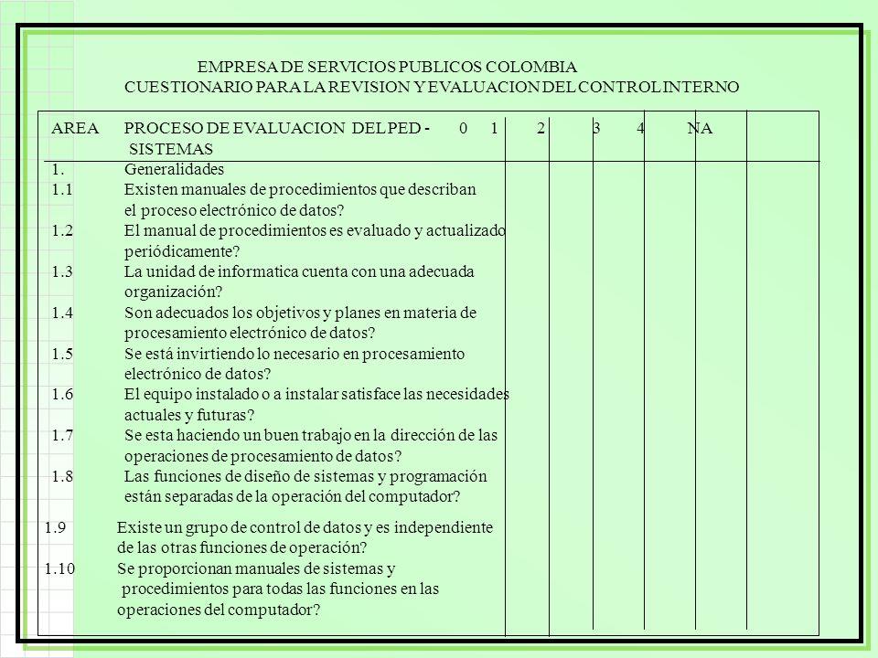 EMPRESA DE SERVICIOS PUBLICOS COLOMBIA CUESTIONARIO PARA LA REVISION Y EVALUACION DEL CONTROL INTERNO AREAPROCESO DE EVALUACION DEL PED - 01 2 34 NA S
