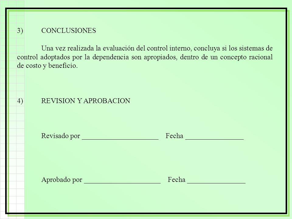 3)CONCLUSIONES Una vez realizada la evaluación del control interno, concluya si los sistemas de control adoptados por la dependencia son apropiados, d