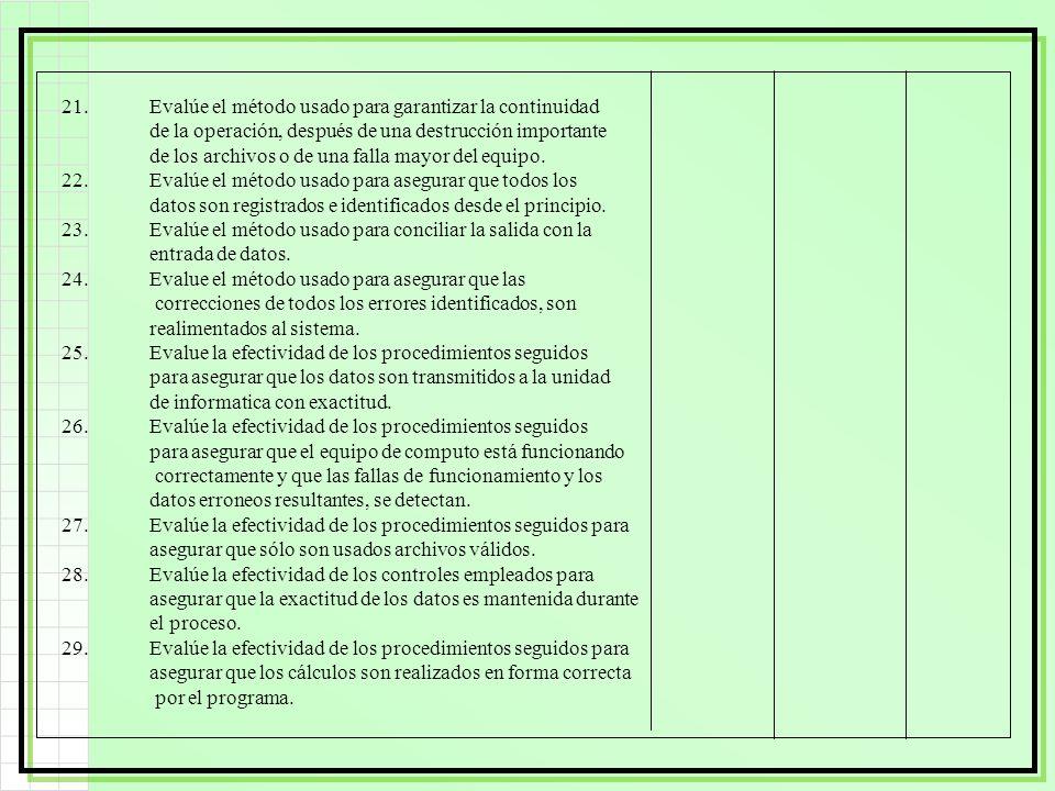 21.Evalúe el método usado para garantizar la continuidad de la operación, después de una destrucción importante de los archivos o de una falla mayor d