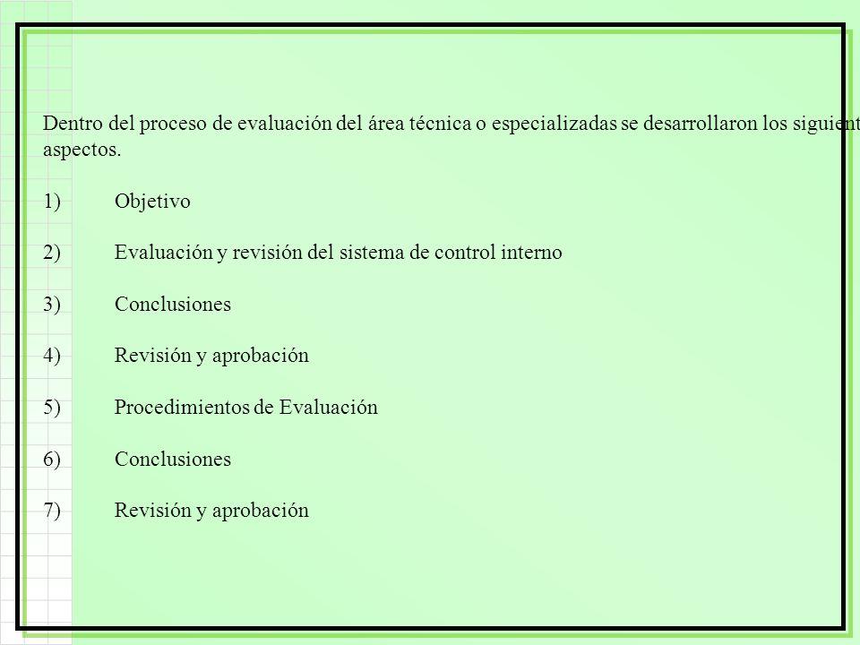 Dentro del proceso de evaluación del área técnica o especializadas se desarrollaron los siguientes aspectos. 1)Objetivo 2)Evaluación y revisión del si