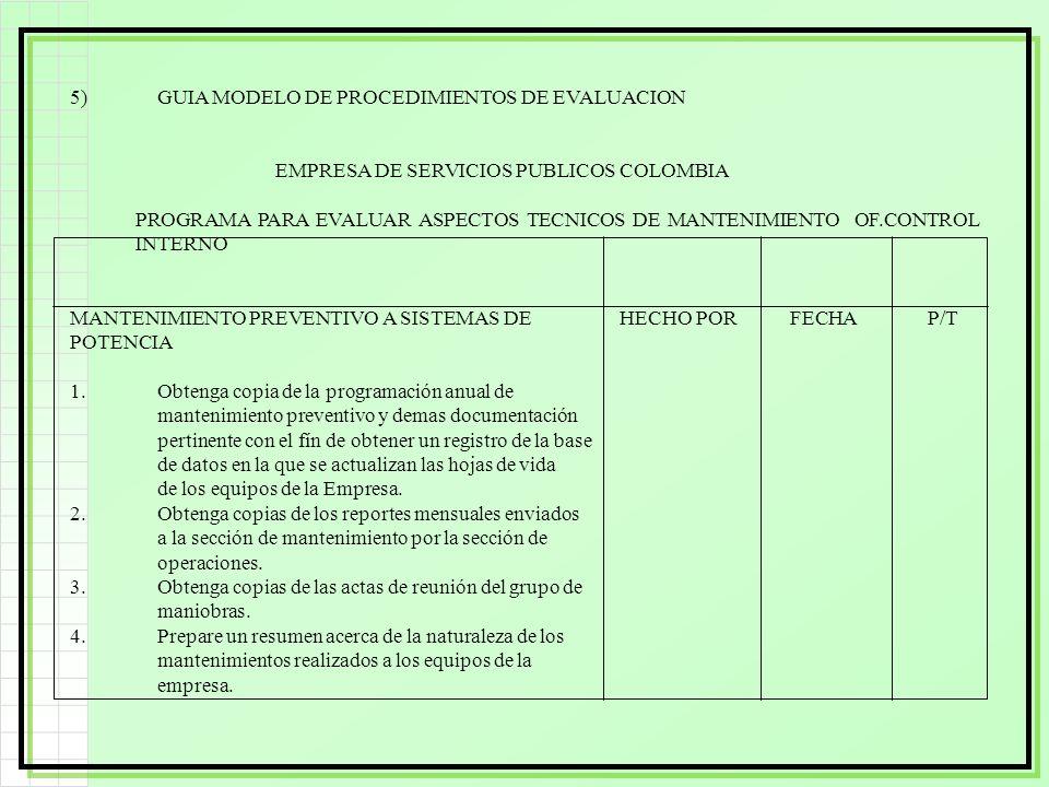 5)GUIA MODELO DE PROCEDIMIENTOS DE EVALUACION EMPRESA DE SERVICIOS PUBLICOS COLOMBIA PROGRAMA PARA EVALUAR ASPECTOS TECNICOS DE MANTENIMIENTO OF.CONTR