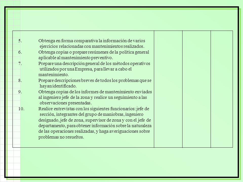 5.Obtenga en forma comparativa la información de varios ejercicios relacionadas con mantenimientos realizados. 6.Obtenga copias o prepare resúmenes de