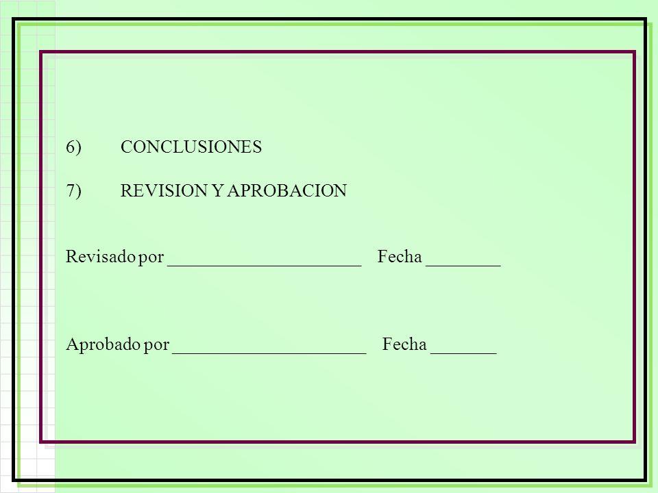6)CONCLUSIONES 7)REVISION Y APROBACION Revisado por _____________________ Fecha ________ Aprobado por _____________________ Fecha _______