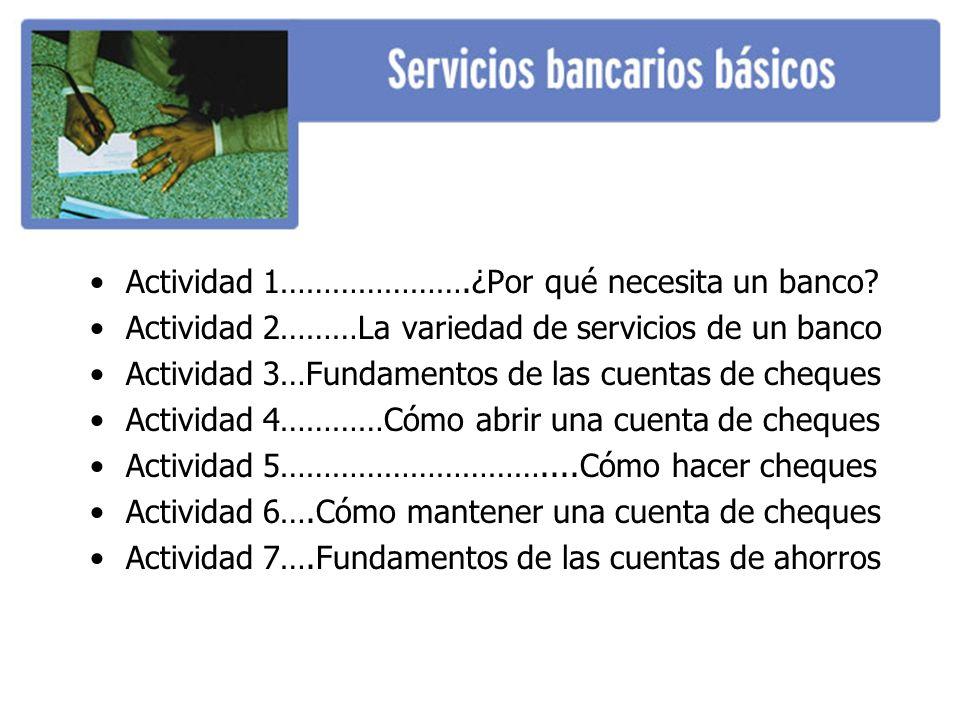 Actividad 1………………….¿Por qué necesita un banco? Actividad 2………La variedad de servicios de un banco Actividad 3…Fundamentos de las cuentas de cheques Ac